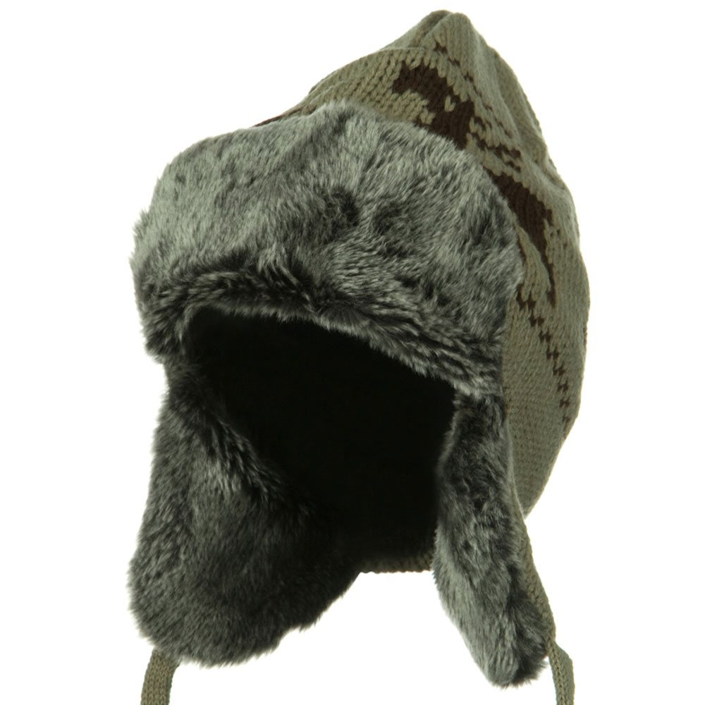 Deer Knit Trooper Hat - Khaki - Hats and Caps Online Shop - Hip Head Gear