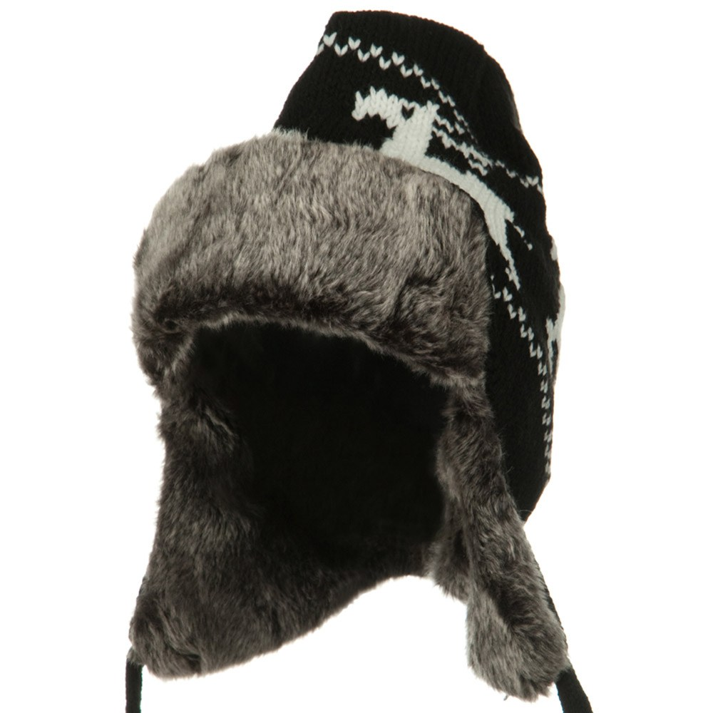 Deer Knit Trooper Hat - Black - Hats and Caps Online Shop - Hip Head Gear
