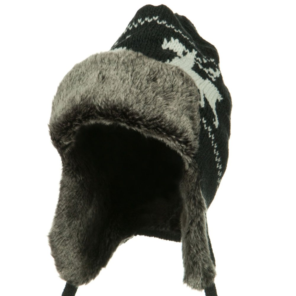 Deer Knit Trooper Hat - Charcoal - Hats and Caps Online Shop - Hip Head Gear