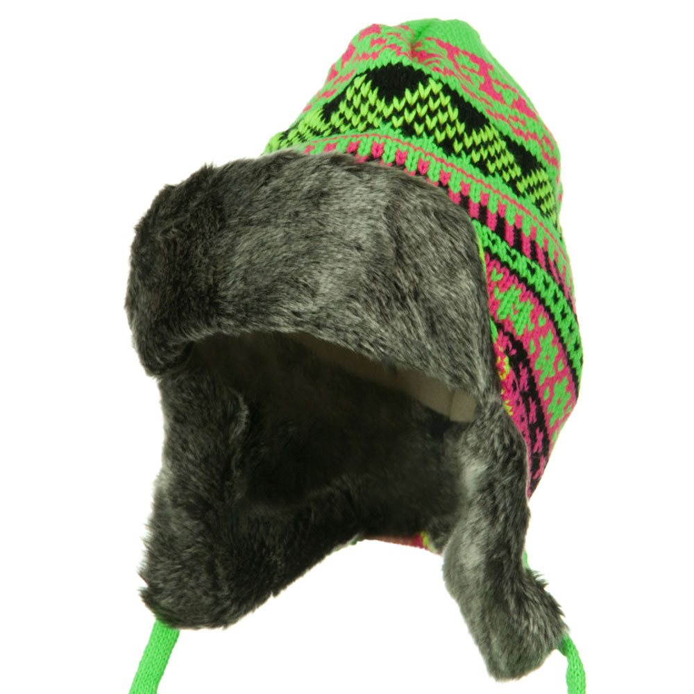 Neon Color Knit Trooper Hats - Neon Green pink - Hats and Caps Online Shop - Hip Head Gear
