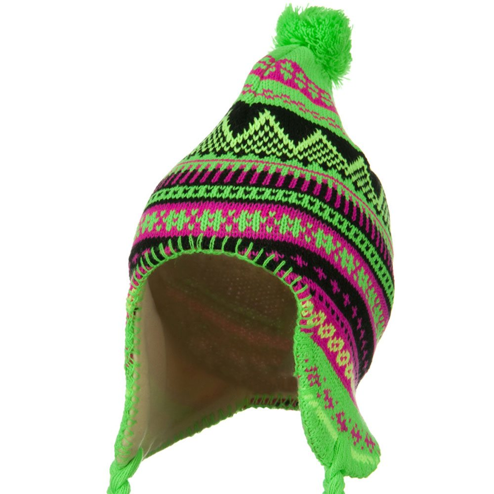 Lady Neon Ear Cover Knit Hat - Green - Hats and Caps Online Shop - Hip Head Gear