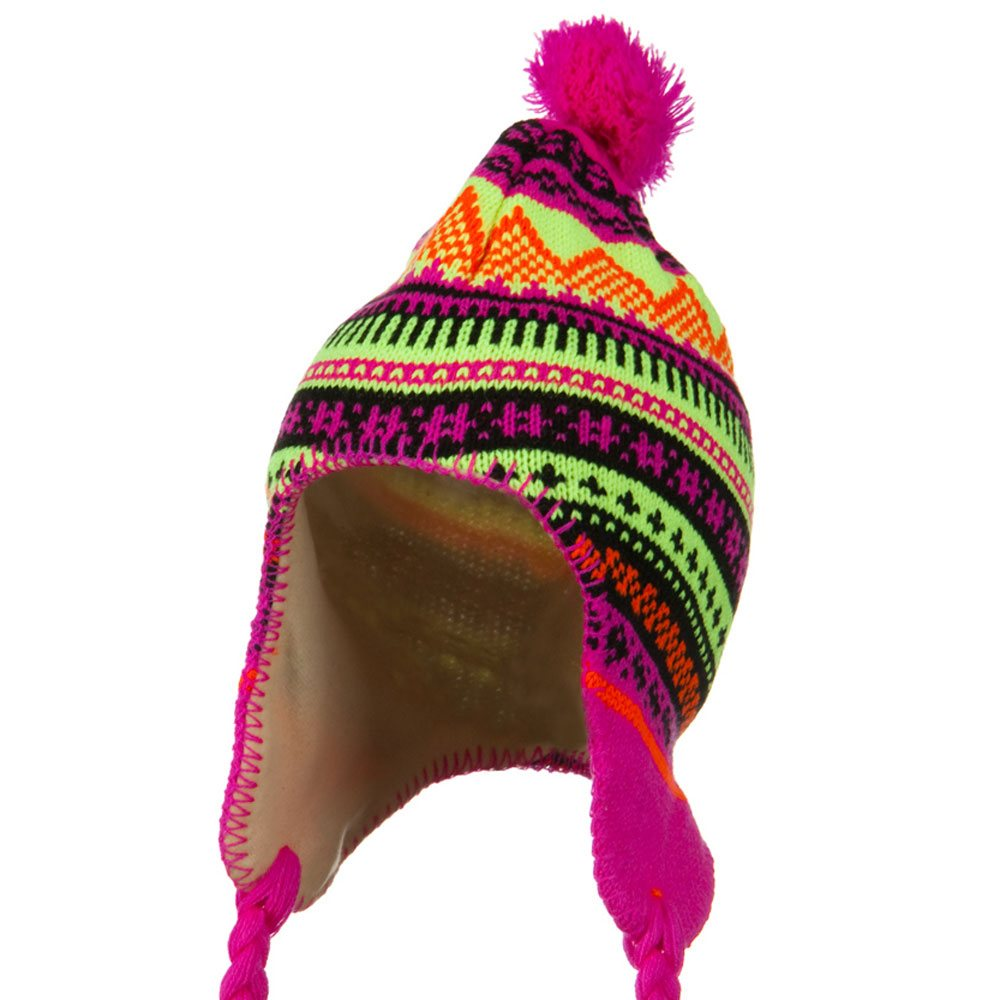 Lady Neon Ear Cover Knit Hat - Fuchsia - Hats and Caps Online Shop - Hip Head Gear
