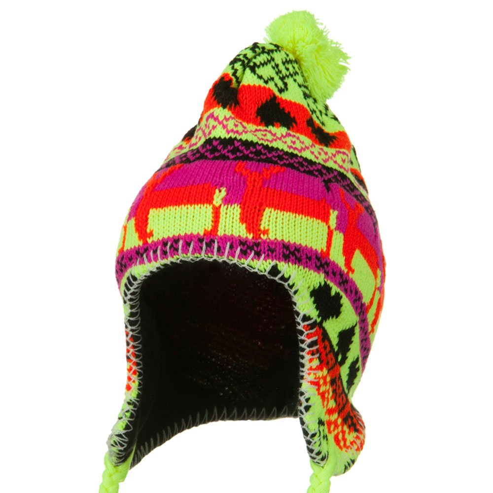 Neon Ear Cover Deer Knit Hat - Yellow - Hats and Caps Online Shop - Hip Head Gear