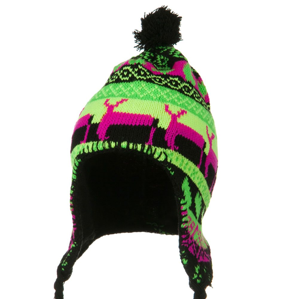 Neon Ear Cover Deer Knit Hat - Black - Hats and Caps Online Shop - Hip Head Gear