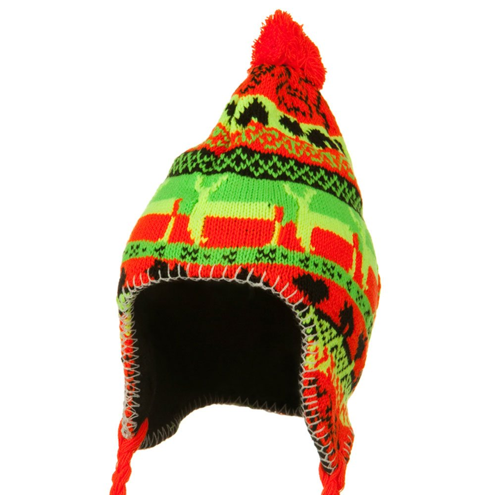 Neon Ear Cover Deer Knit Hat - Orange - Hats and Caps Online Shop - Hip Head Gear
