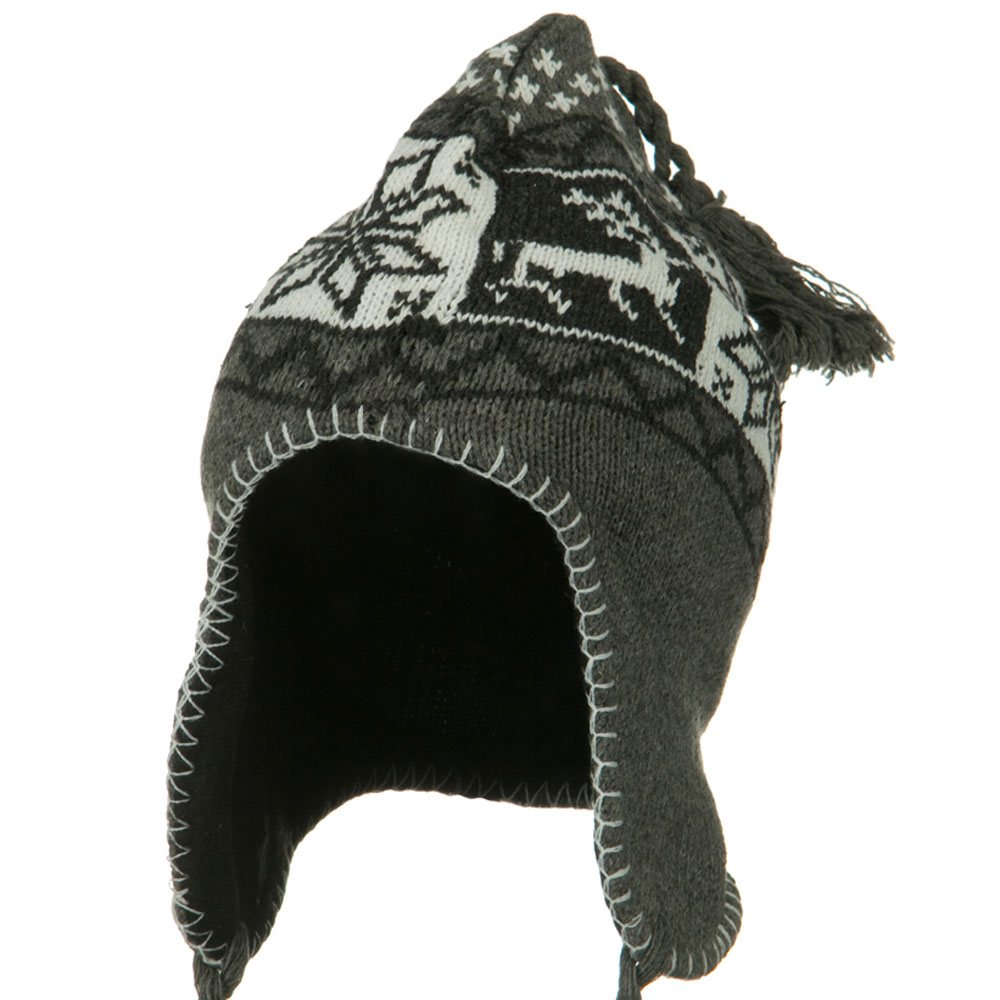 Deer Ear Cover Knit Hat - Grey - Hats and Caps Online Shop - Hip Head Gear