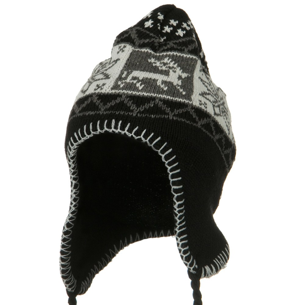 Deer Ear Cover Knit Hat - Black - Hats and Caps Online Shop - Hip Head Gear