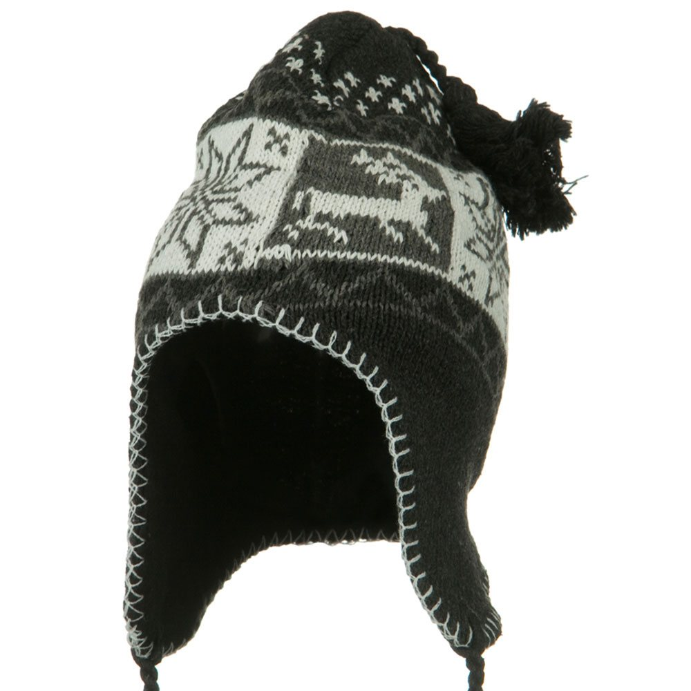 Deer Ear Cover Knit Hat - Charcoal - Hats and Caps Online Shop - Hip Head Gear