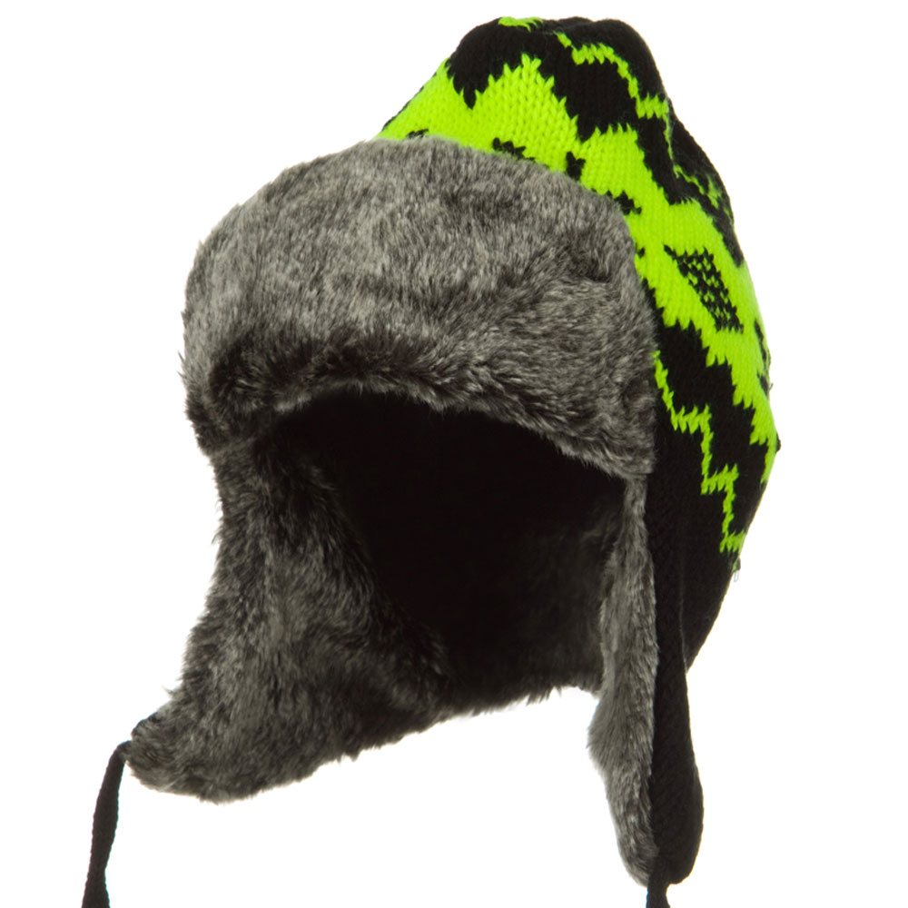 New Pattern Knit Trooper Hat - Yellow Black - Hats and Caps Online Shop - Hip Head Gear