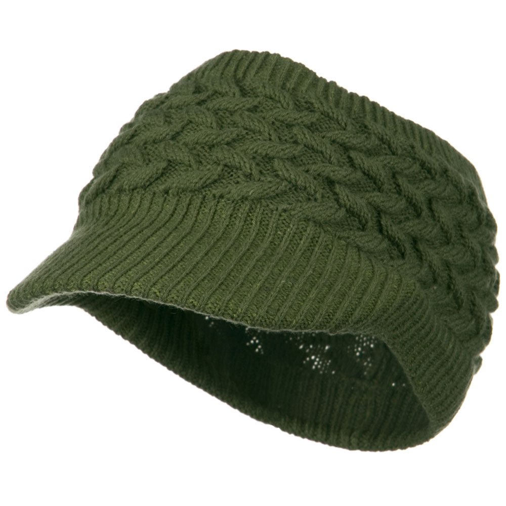 Cable Beanie Band Visor - Green - Hats and Caps Online Shop - Hip Head Gear