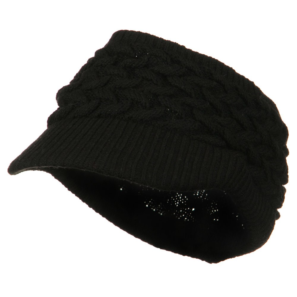 Cable Beanie Band Visor - Black - Hats and Caps Online Shop - Hip Head Gear