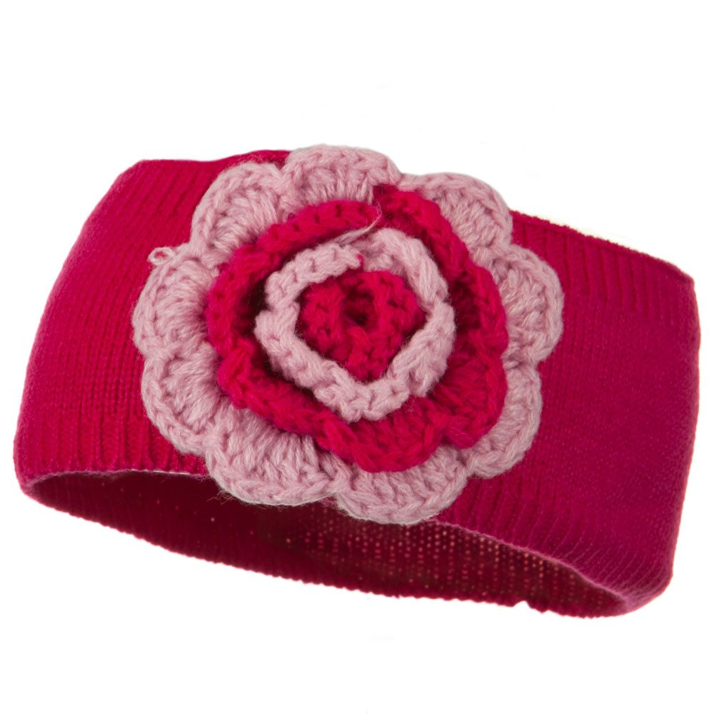 Big Flower Knit Head Band - Fuchsia - Hats and Caps Online Shop - Hip Head Gear