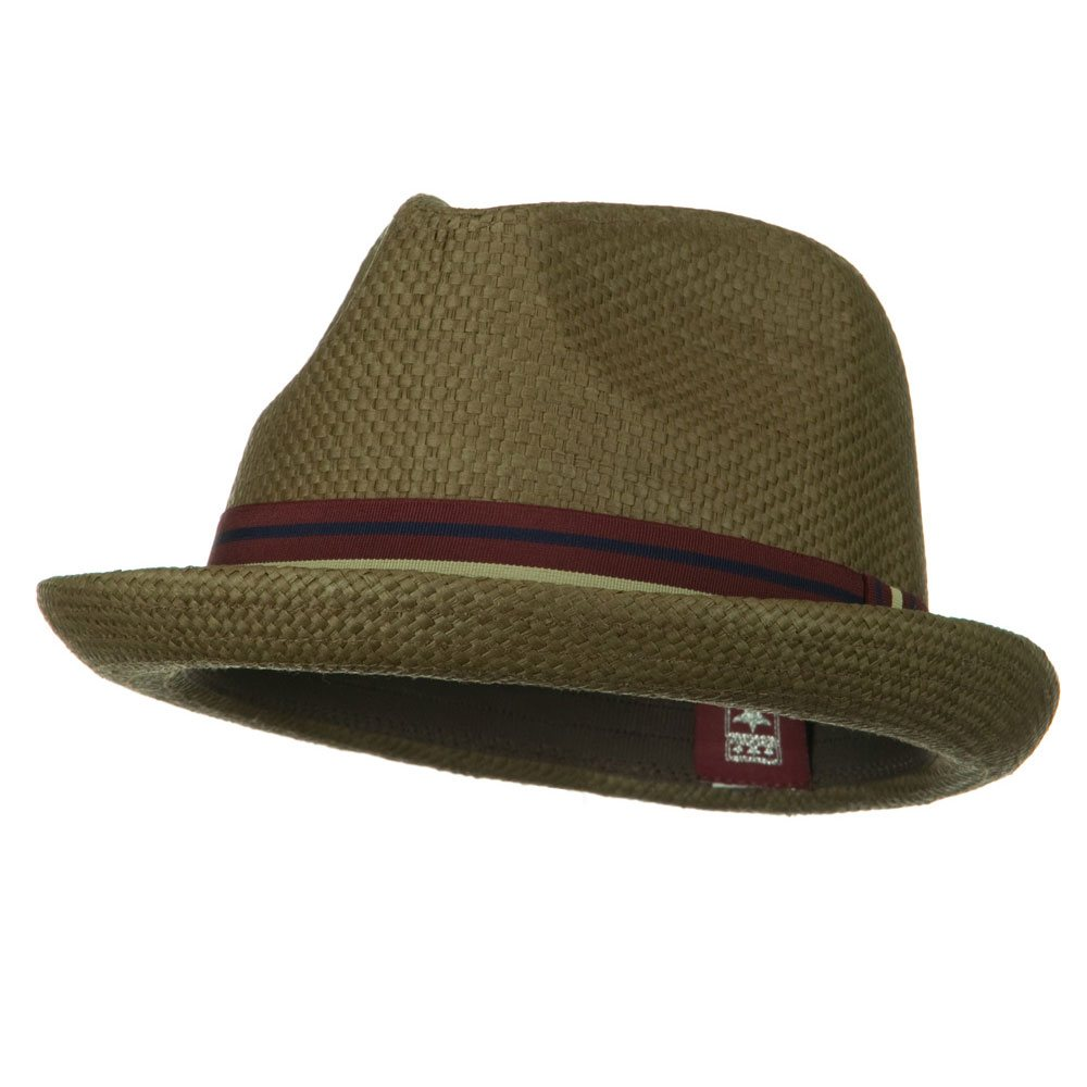 Stripe Band Trilby Hat - Brown - Hats and Caps Online Shop - Hip Head Gear