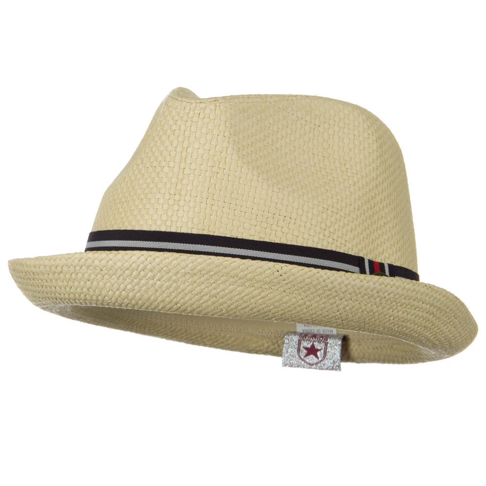 Stripe Band Trilby Hat - Camel - Hats and Caps Online Shop - Hip Head Gear