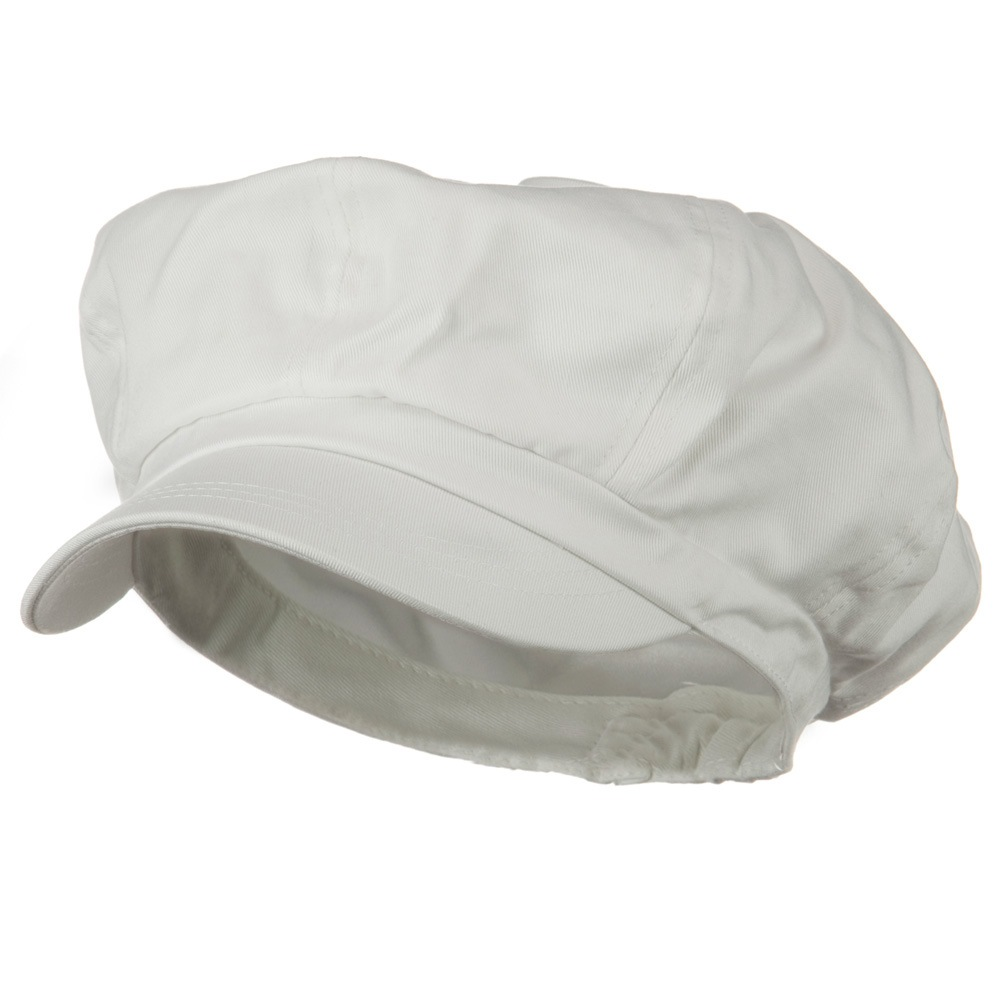 Big Size Cotton Newsboy Hat - White - Hats and Caps Online Shop - Hip Head Gear
