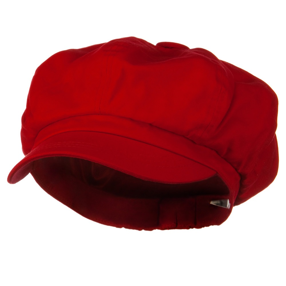 Big Size Cotton Newsboy Hat - Red - Hats and Caps Online Shop - Hip Head Gear