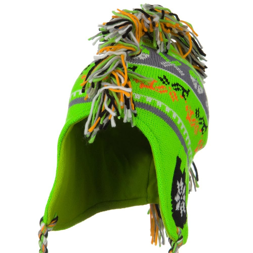 Knit Mohawk Ski Beanie Hat - Neon Green - Hats and Caps Online Shop - Hip Head Gear