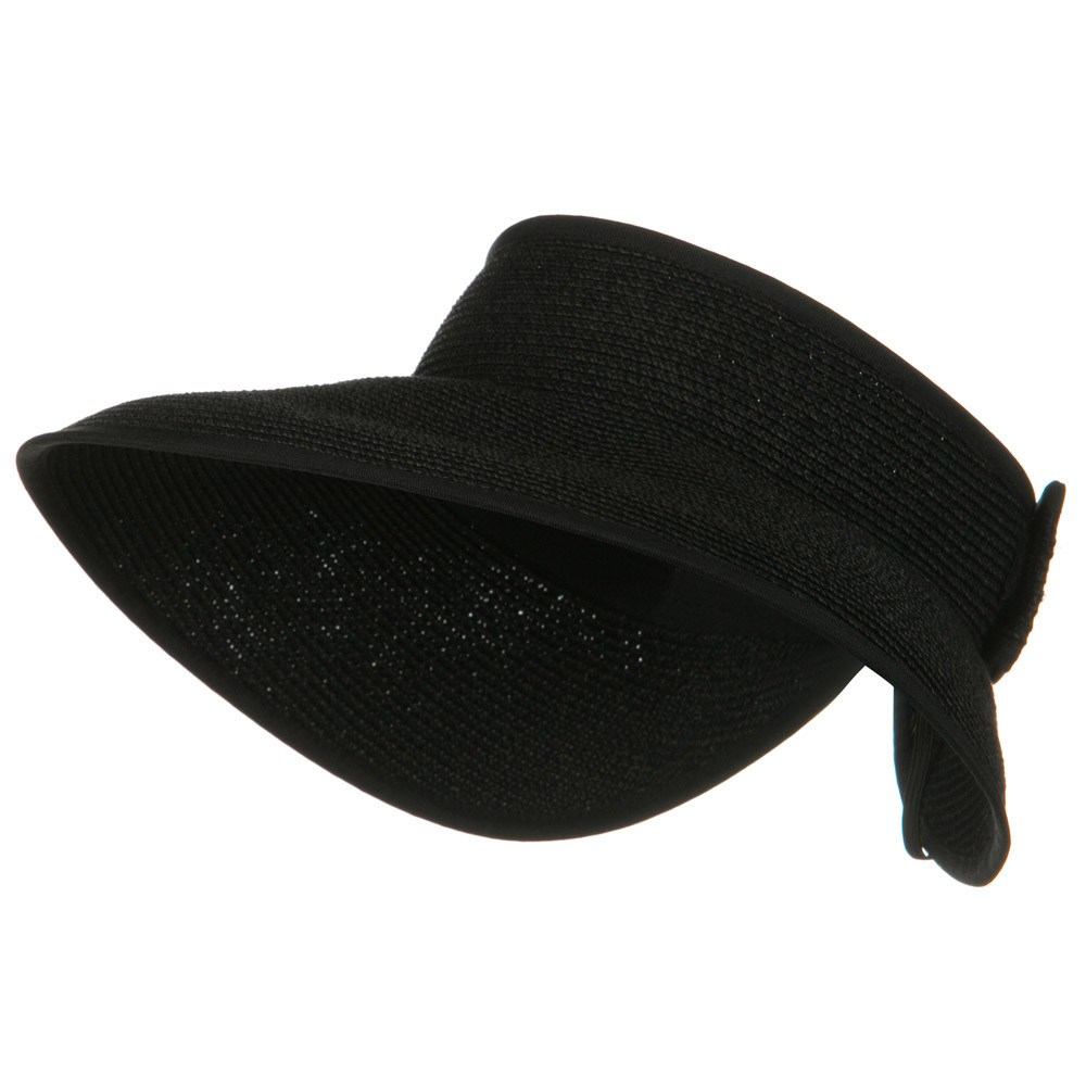 UPF 50+ Bow Tie Tweed Roll Up Visor - Black