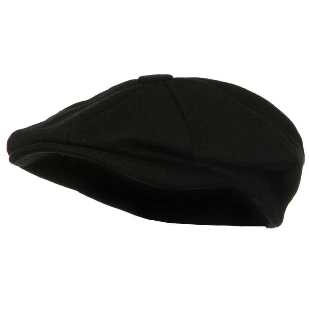 Big Size Melton Apple Newsboy Hat-Black - Hats and Caps Online Shop - Hip Head Gear