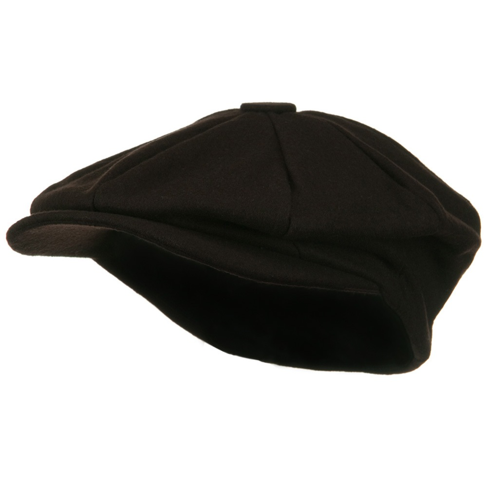 Big Size Melton Apple Newsboy Hat-Brown