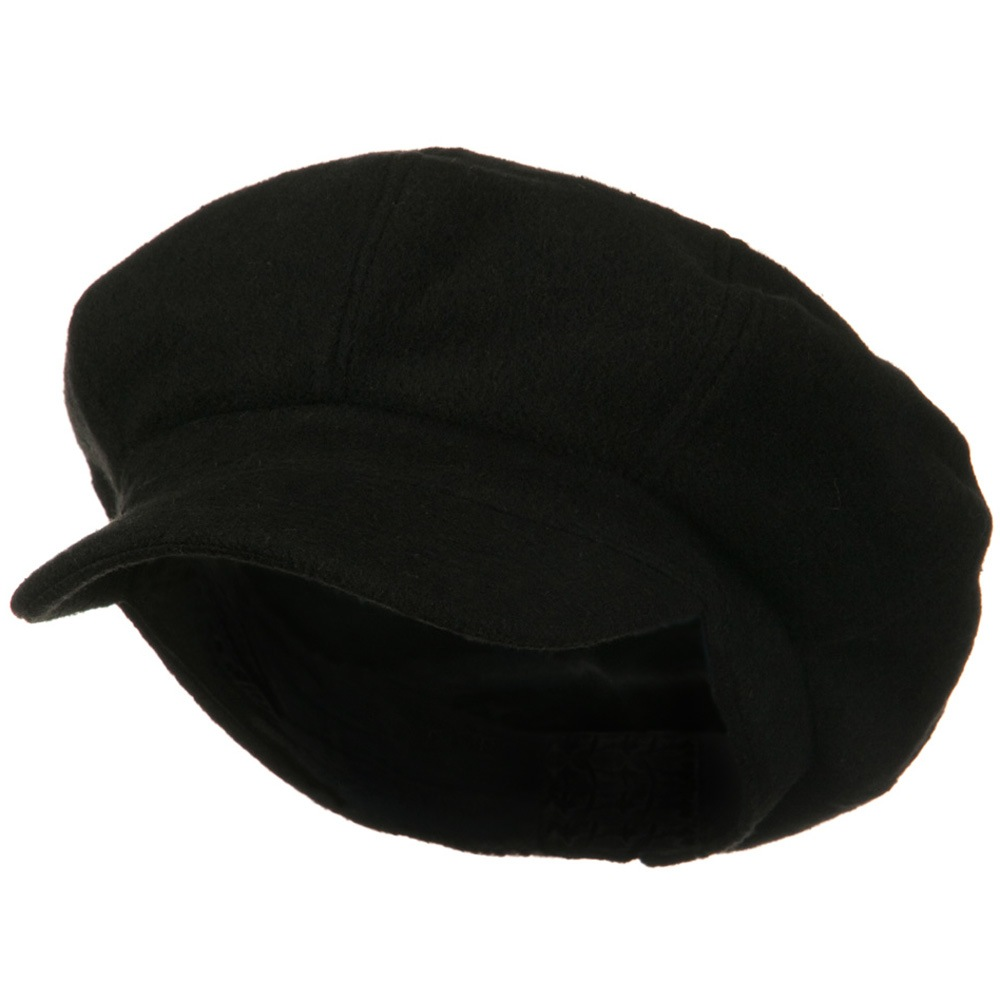 Big Size Melton Wool Newsboy Cap - Black - Hats and Caps Online Shop - Hip Head Gear