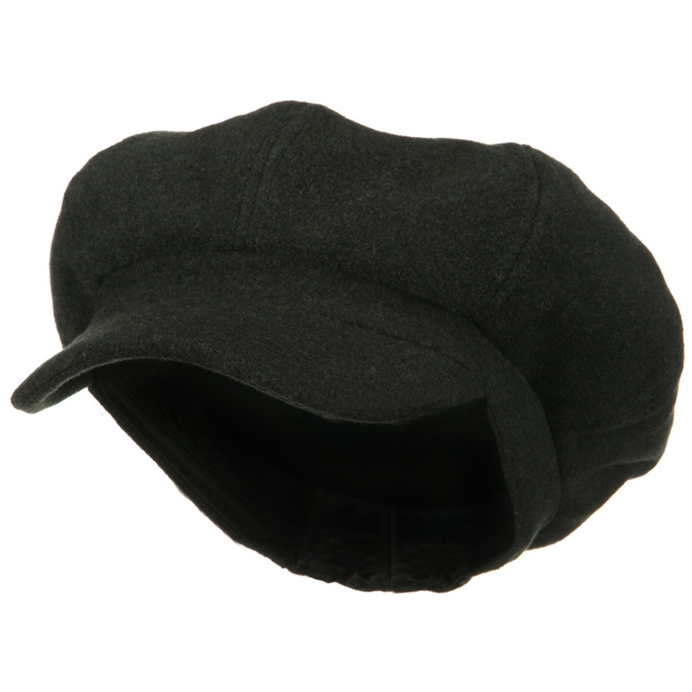 Big Size Melton Wool Newsboy Cap - Charcoal - Hats and Caps Online Shop - Hip Head Gear