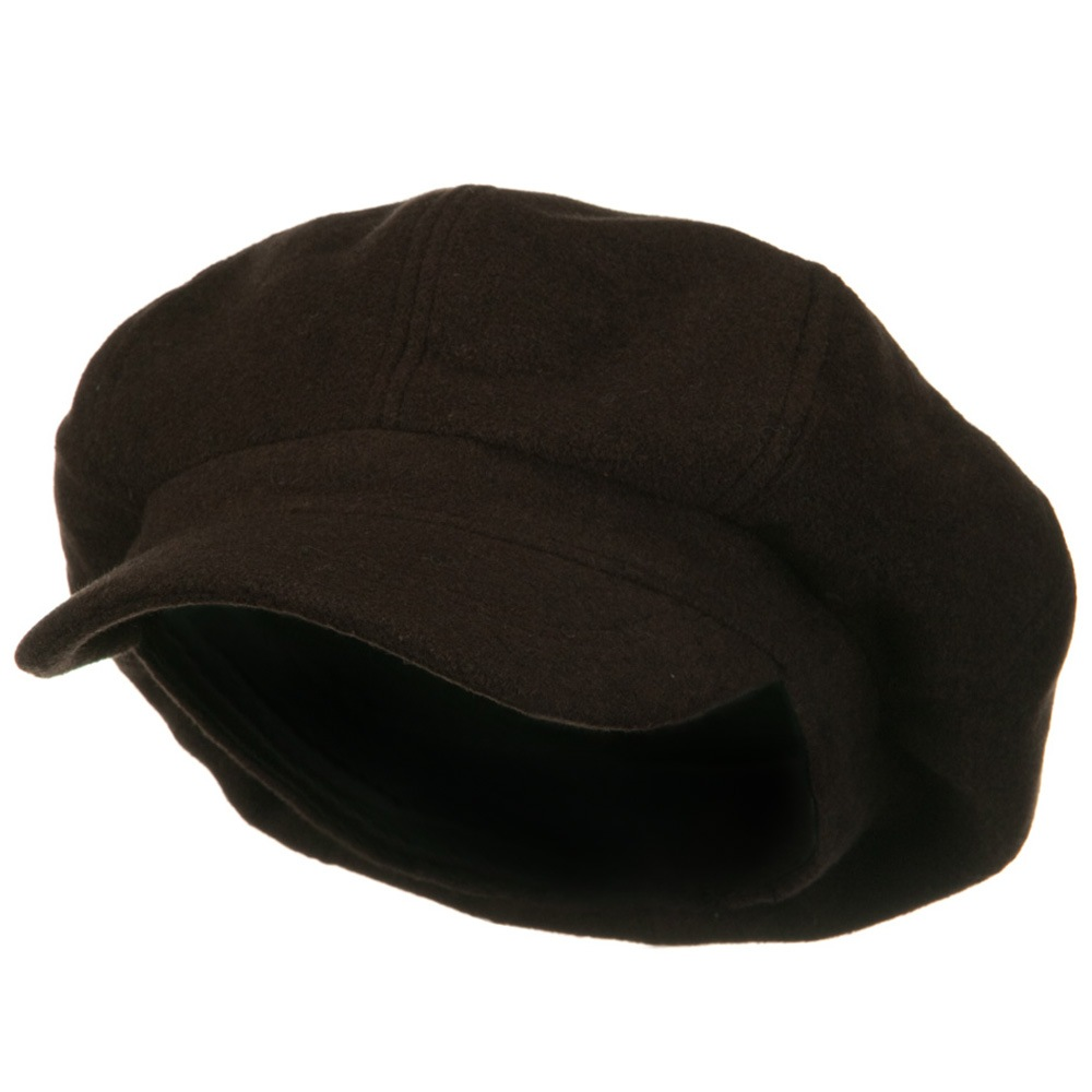 Big Size Melton Wool Newsboy Cap - Brown - Hats and Caps Online Shop - Hip Head Gear