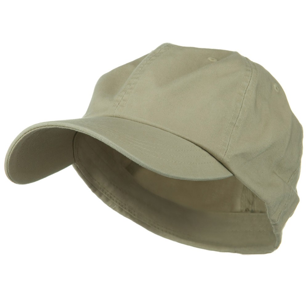 Cotton Twill Big Size Fitted Cap - Khaki