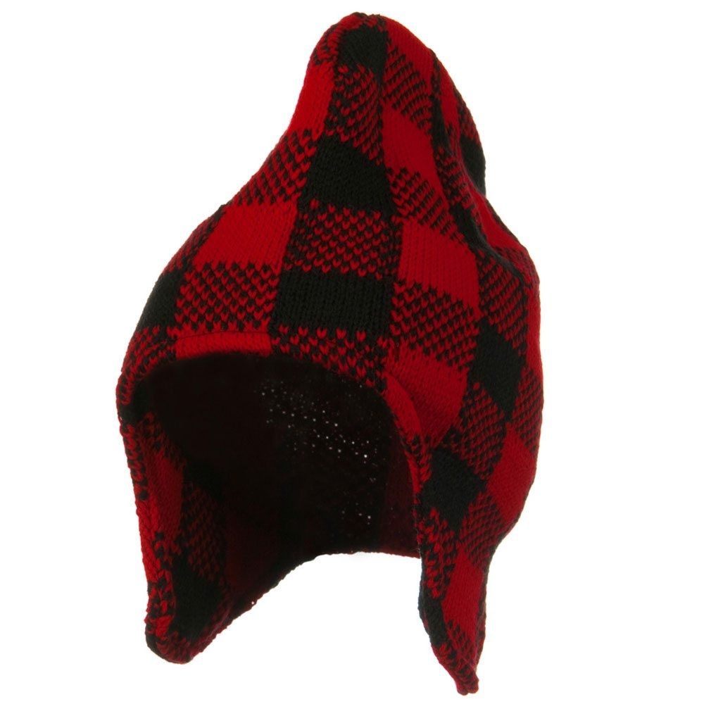 Buffalo Plaid Peruvian Beanie Hat - Red Black - Hats and Caps Online Shop - Hip Head Gear