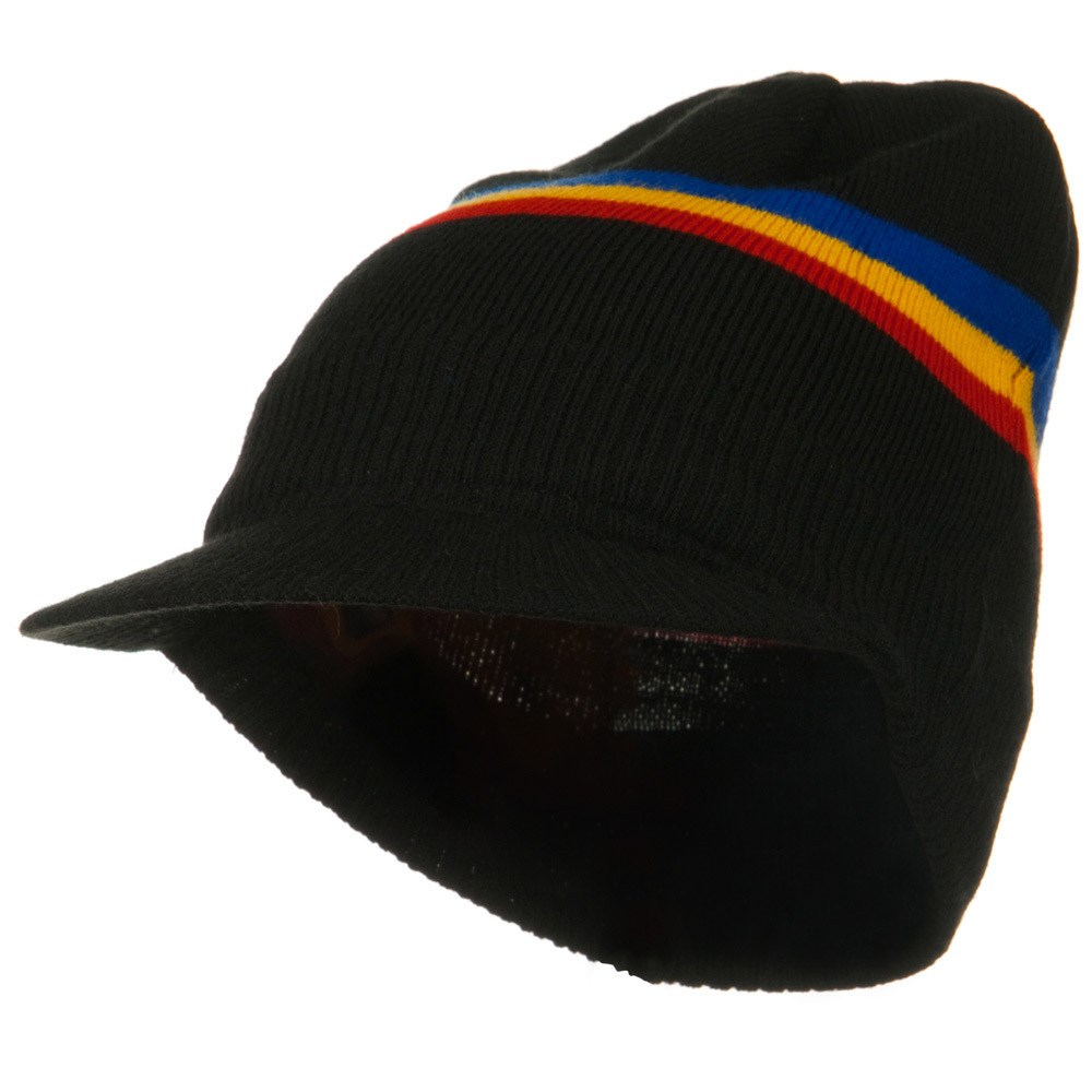 Flag Patched Visored Beanie - Stripeped Philippines - Hats and Caps Online Shop - Hip Head Gear