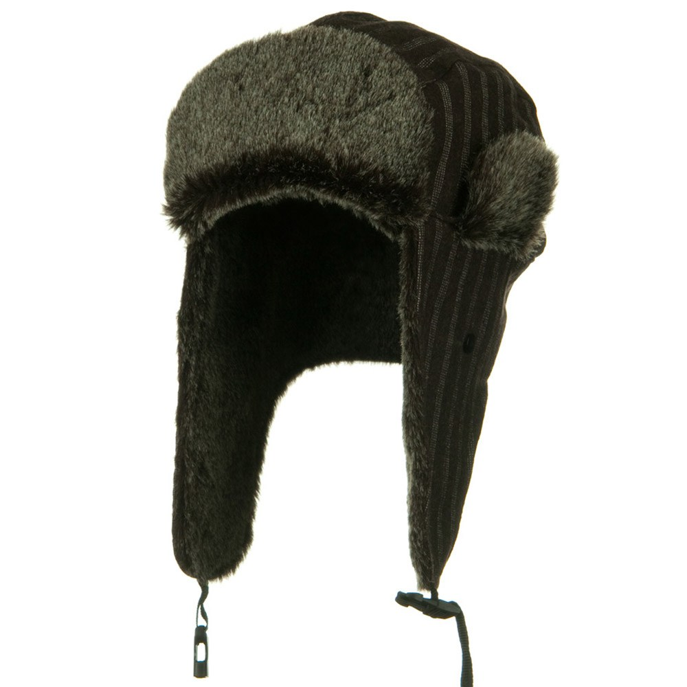 Blended Polyester Pinstripe Trooper Hat - Brown - Hats and Caps Online Shop - Hip Head Gear
