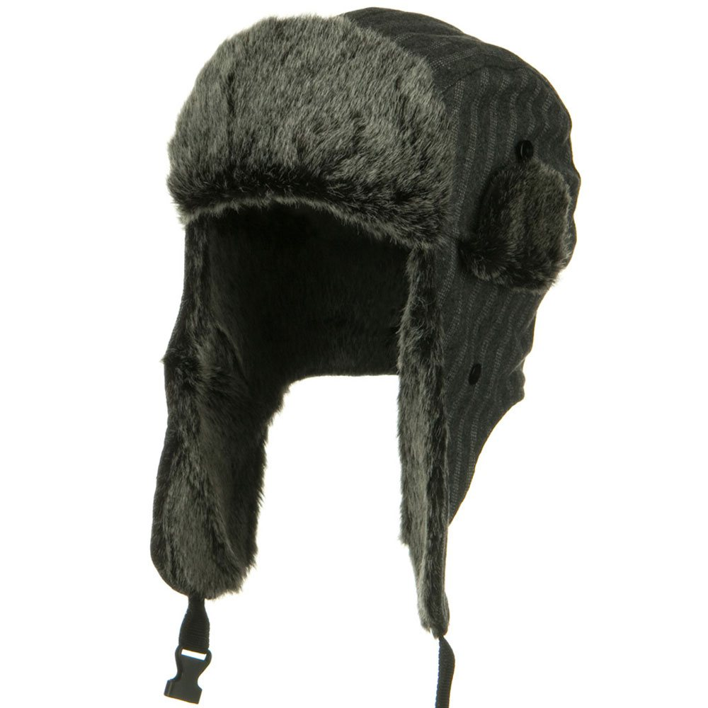 Blended Polyester Pinstripe Trooper Hat - Grey - Hats and Caps Online Shop - Hip Head Gear