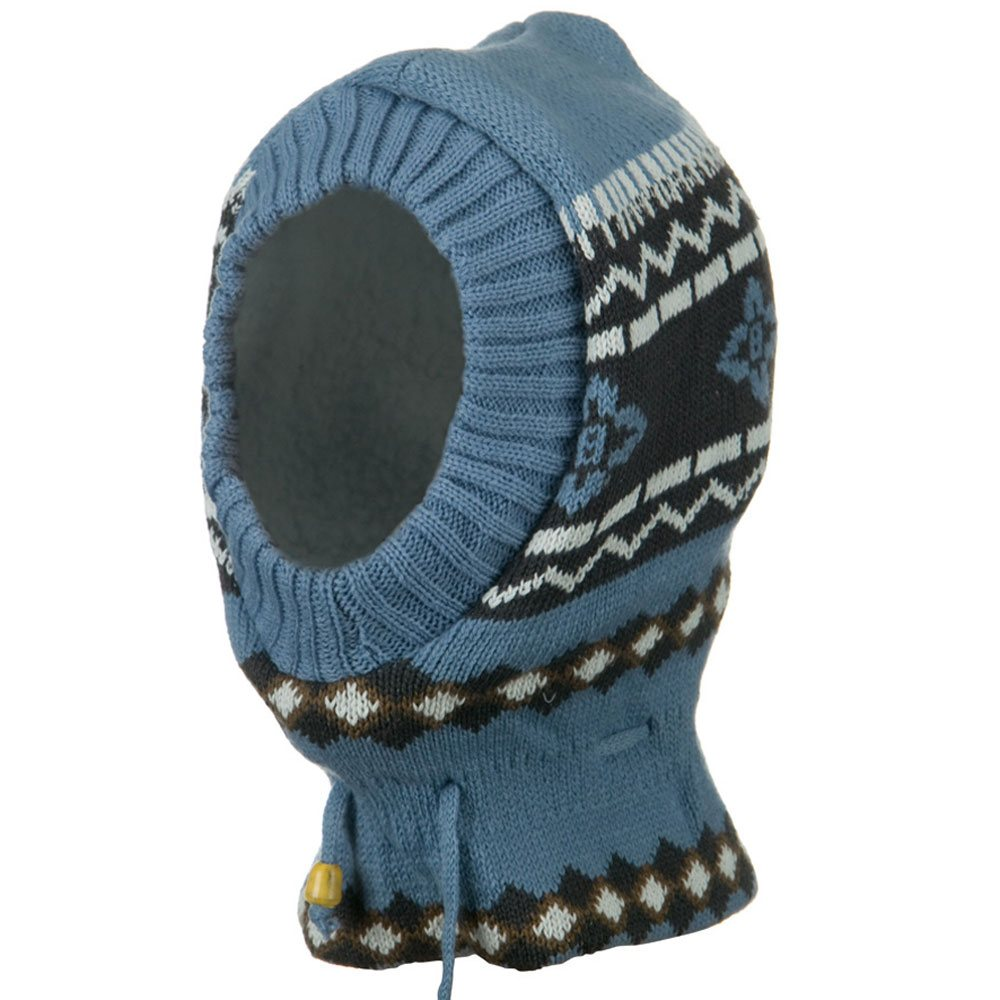 Children Zigzag Pattern Ski Mask - Light Blue Charcoal - Hats and Caps Online Shop - Hip Head Gear