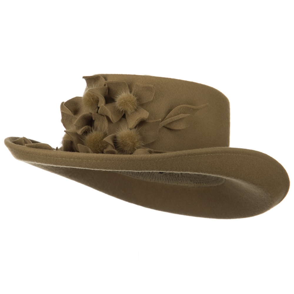 Fur Flower Ribbon Wool Felt Hat - Camel - Hats and Caps Online Shop - Hip Head Gear