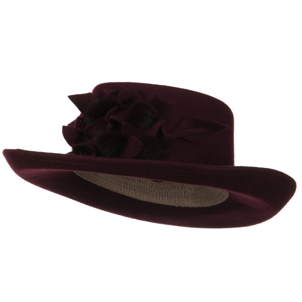 Fur Flower Ribbon Wool Felt Hat - Burgundy - Hats and Caps Online Shop - Hip Head Gear