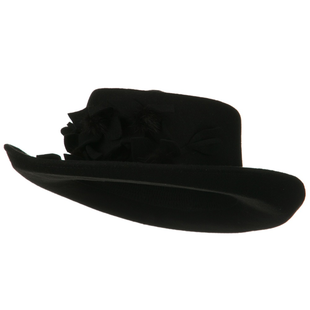 Fur Flower Ribbon Wool Felt Hat - Black - Hats and Caps Online Shop - Hip Head Gear