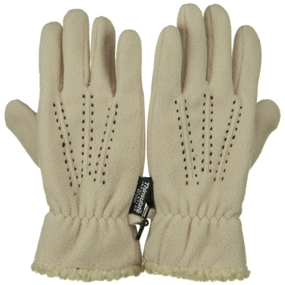 Three Pleat Lady Microfleece Glove - Tan