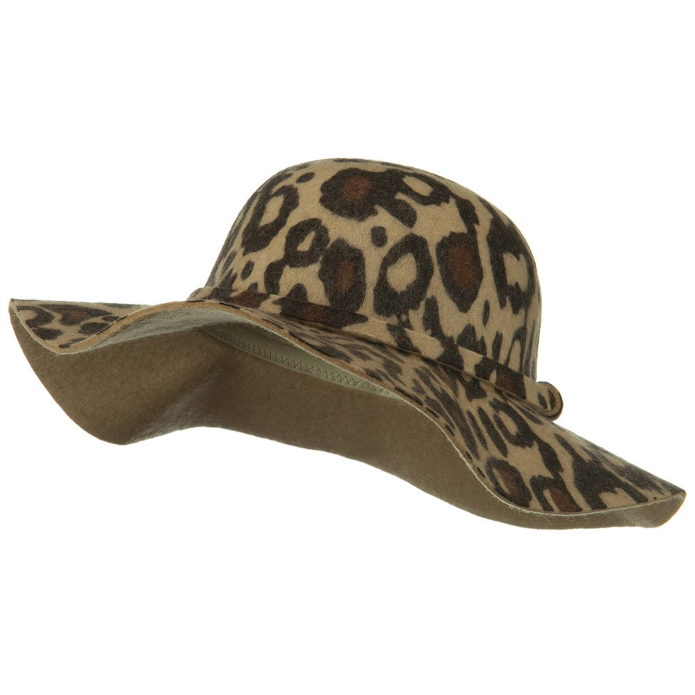 Animal Print Wool Felt Hat - Brown - Hats and Caps Online Shop - Hip Head Gear
