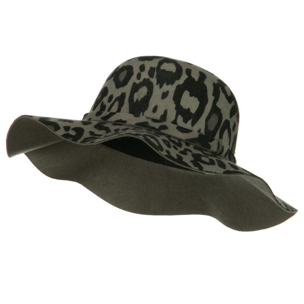 Animal Print Wool Felt Hat - Black - Hats and Caps Online Shop - Hip Head Gear