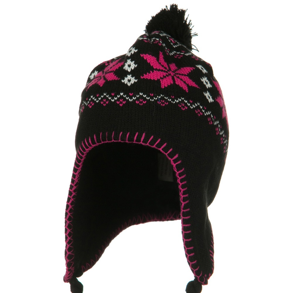 Adult Knit Aviator Beanie Hat - Black Pink - Hats and Caps Online Shop - Hip Head Gear