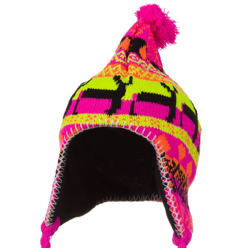 Neon Ear Cover Deer Knit Hat - Pink - Hats and Caps Online Shop - Hip Head Gear