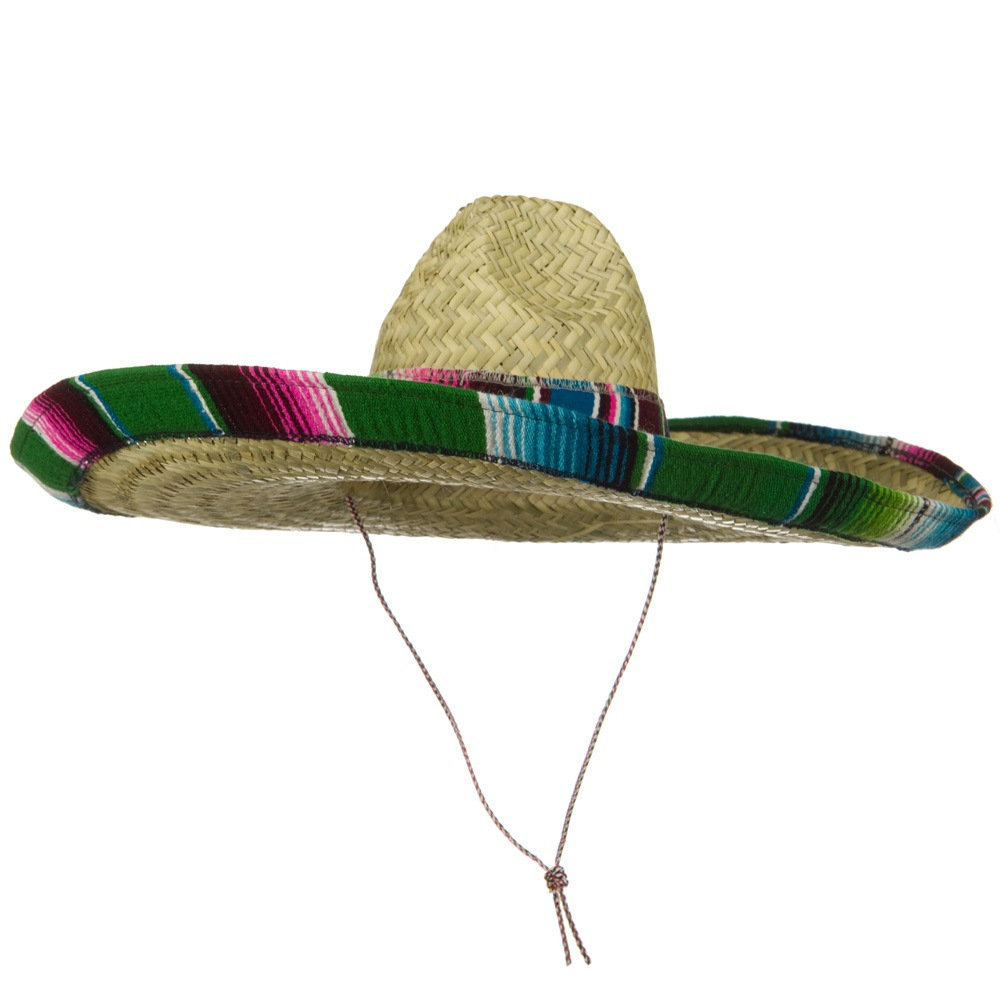 Serape Band Straw Sombrero - Green - Hats and Caps Online Shop - Hip Head Gear