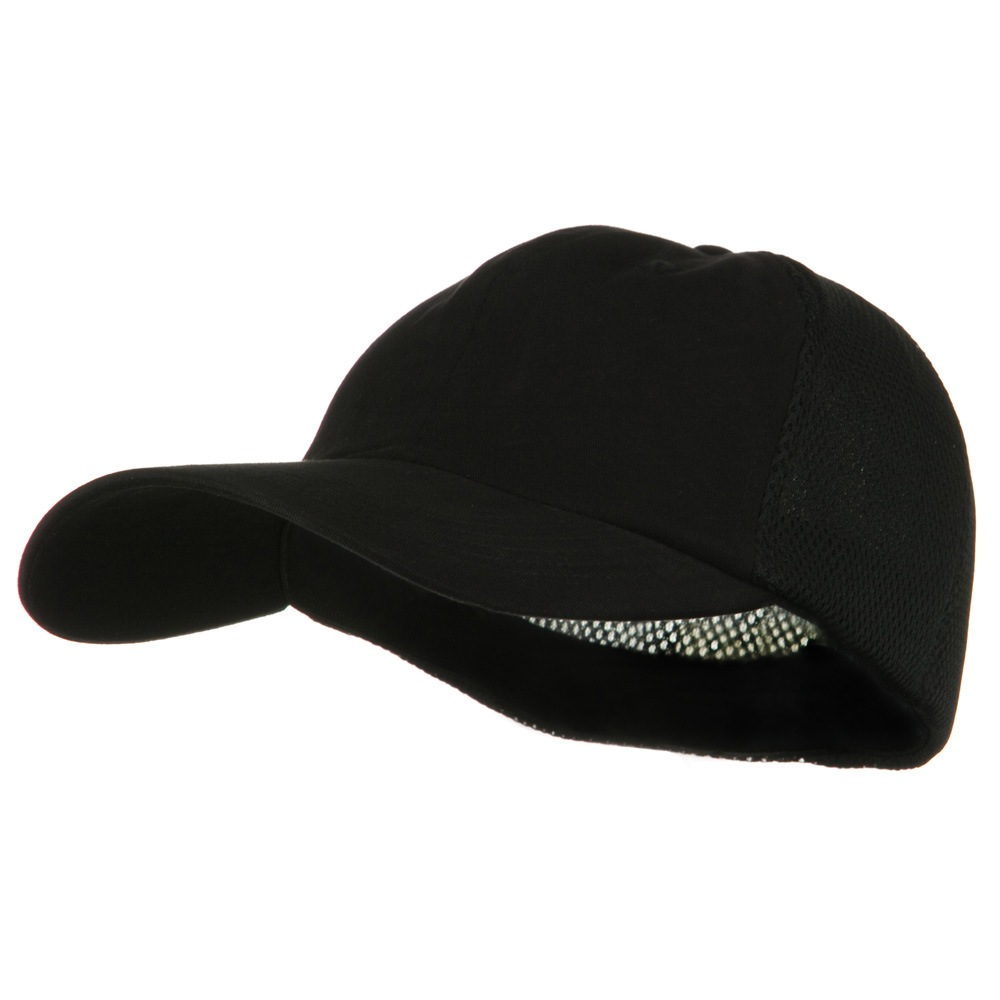 Big Size Summer Twill Mesh Flexible Fitted Cap - Black - Hats and Caps Online Shop - Hip Head Gear