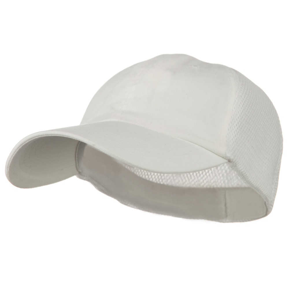 Big Size Summer Twill Mesh Flexible Fitted Cap - White - Hats and Caps Online Shop - Hip Head Gear