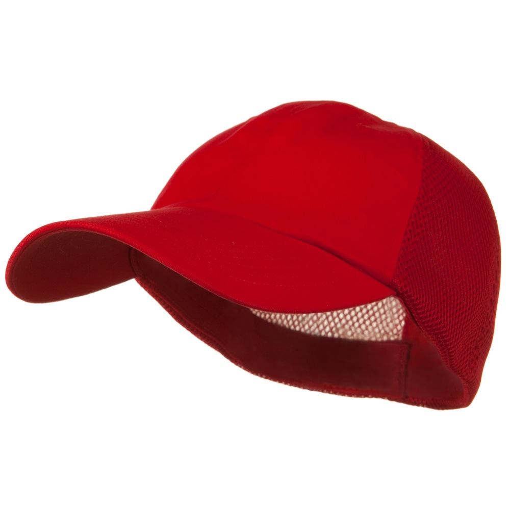 Big Size Summer Twill Mesh Flexible Fitted Cap - Red - Hats and Caps Online Shop - Hip Head Gear
