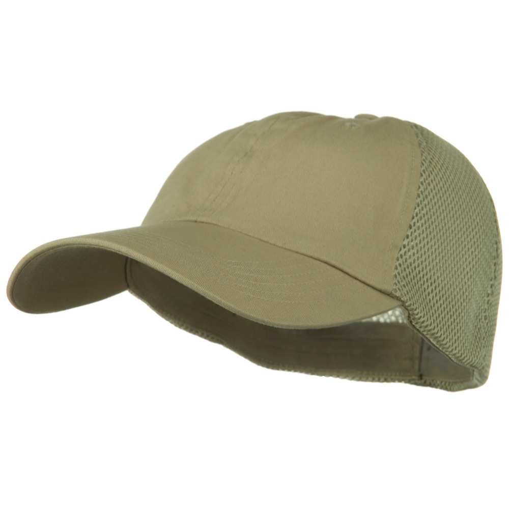 Big Size Summer Twill Mesh Flexible Fitted Cap - Khaki - Hats and Caps Online Shop - Hip Head Gear