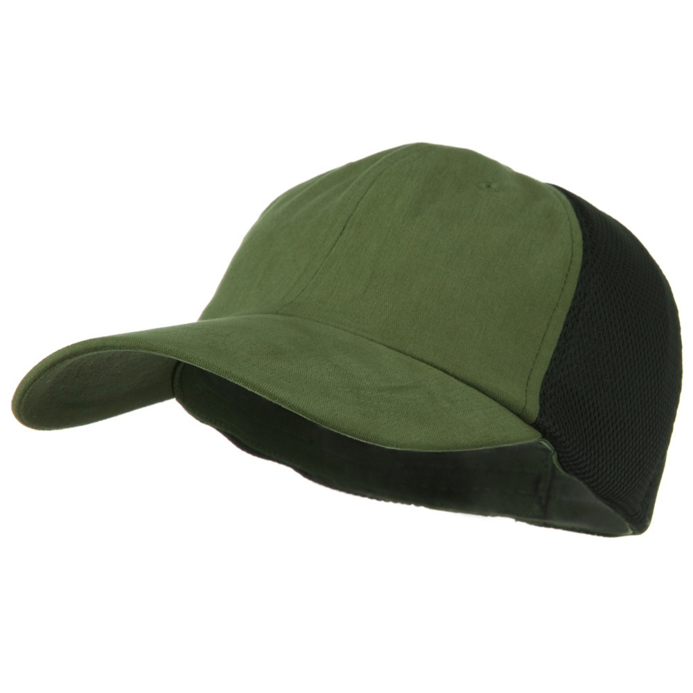 Big Size Summer Twill Mesh Flexible Fitted Cap - Olive Green - Hats and Caps Online Shop - Hip Head Gear