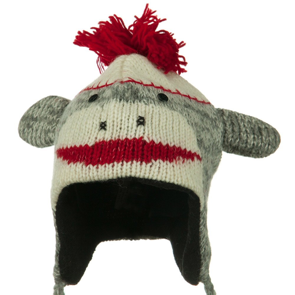 Adult Animal Wool Ski Beanie - Red Punk Monkey - Hats and Caps Online Shop - Hip Head Gear