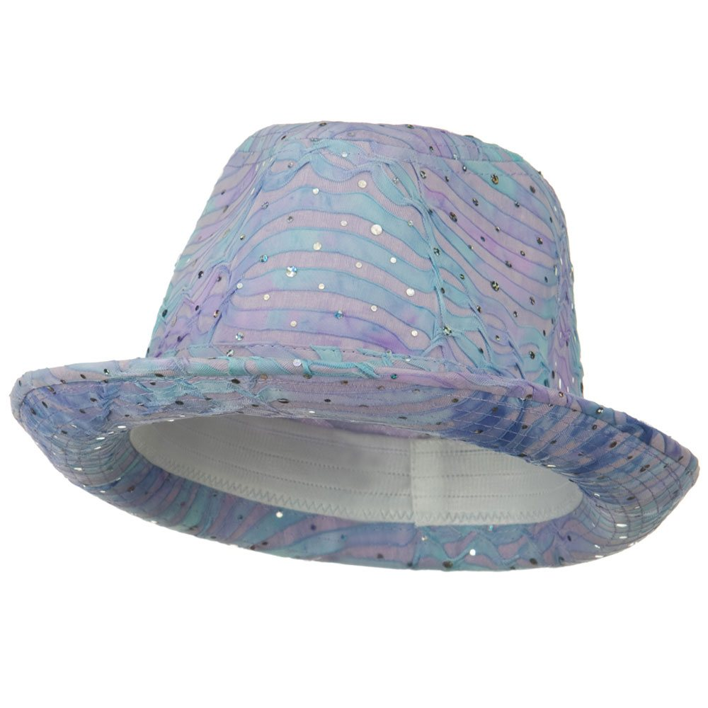 New Glitter Fedora Hat - Turquoise - Hats and Caps Online Shop - Hip Head Gear