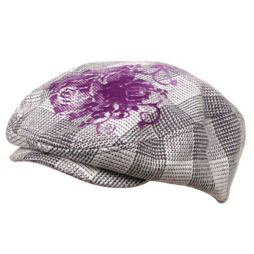 Flower Checkered Ivy Hat-Purple - Hats and Caps Online Shop - Hip Head Gear
